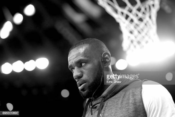 LeBron James of the Cleveland Cavaliers warmsup before taking on the Golden State Warriors in Game 5 of the 2017 NBA Finals at ORACLE Arena on June...