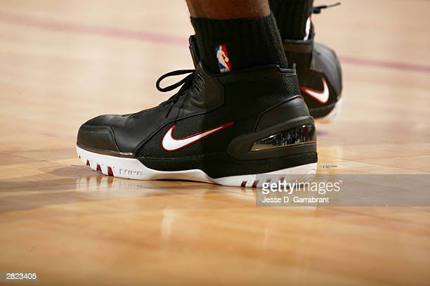LeBron James of the Cleveland Cavaliers wears his new Air Zoom Generation sneakers by Nike in the game against the Philadelphia 76ers December 19...