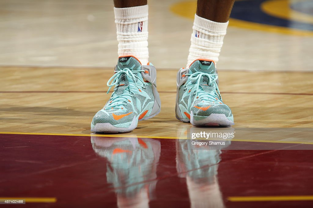 size 40 401af f8fb8 LeBron James of the Cleveland Cavaliers wears his new LeBron ...