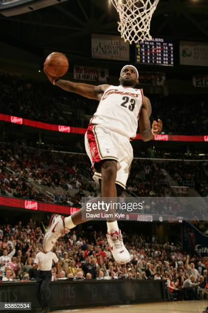 LeBron James of the Cleveland Cavaliers winds up for the dunk off a fast break against the Golden State Warriors at The Quicken Loans Arena on...