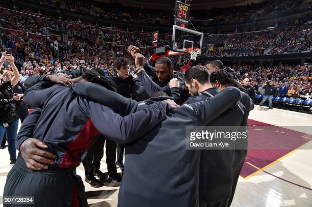 LeBron James of the Cleveland Cavaliers with his teammates huddle before the game against the Oklahoma City Thunder on January 20 2018 at Quicken...