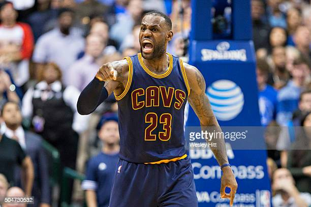 LeBron James of the Cleveland Cavaliers yells at this teammates during a game against the Dallas Mavericks at American Airlines Center on January 12...