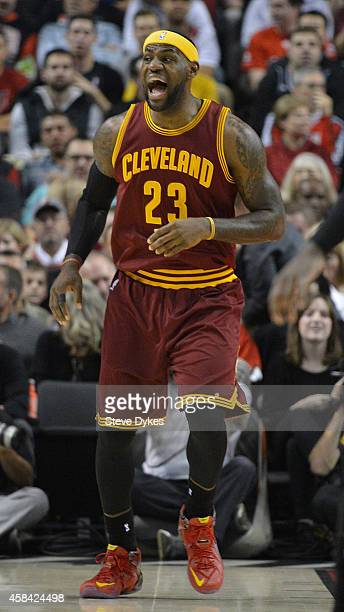 LeBron James of the Cleveland Cavaliers yells out to his teammates during the fourth quarter of the game against the Portland Trail Blazers at Moda...