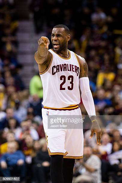 LeBron James of the Cleveland Cavaliers yells to his team during the first half against the Sacramento Kings at Quicken Loans Arena on February 8...