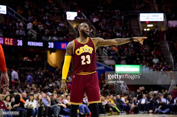 LeBron James of the Cleveland Cavaliers yells to his teammates during the second half against the New York Knicks at Quicken Loans Arena on February...