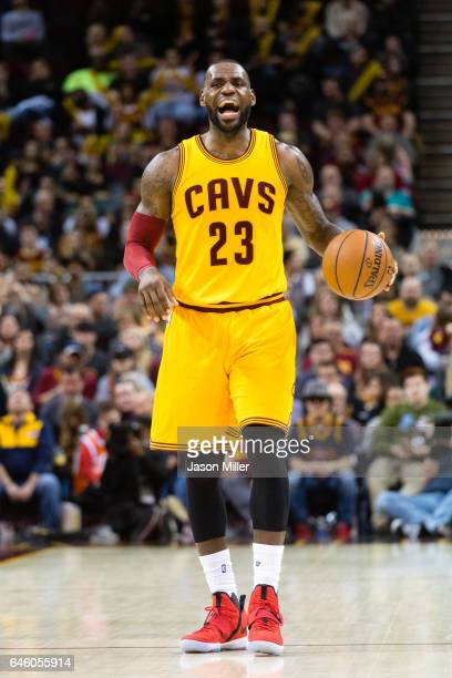 LeBron James of the Cleveland Cavaliers yells to his teammates during the second half against the Milwaukee Bucks at Quicken Loans Arena on February...