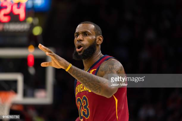 LeBron James of the Cleveland Cavaliers yells to his teammates during the first half against the Detroit Pistons at Quicken Loans Arena on January 28...