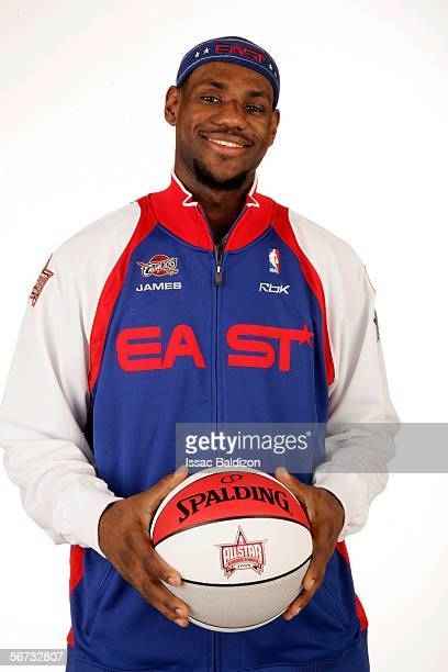 LeBron James of the Clevelend Cavaliers poses in his 2006 AllStar uniform February 2 2006 in Miami Florida NOTE TO USER User expressly acknowledges...