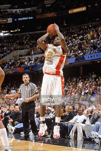 LeBron James of the East AllStars shoots the jump shot against the West AllStars during the McDonald's AllAmerican High School Game on March 26 2003...
