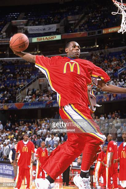 LeBron James of the East AllStars warms up prior to taking on the West AllStars in the McDonald's AllAmerican High School Game on March 26 2003 at...
