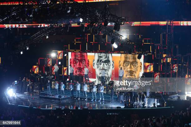 LeBron James of the Easter Conference is introduced before the NBA AllStar Game as a part of 2017 AllStar Weekend at the Smoothie King Center on...