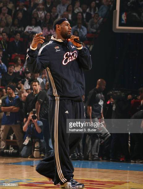 LeBron James of the Eastern Conference addresses the fans during the 2007 NBA All-Star Game on February 18, 2007 at the Thomas & Mack Center in Las...