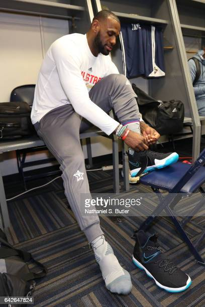 LeBron James of the Eastern Conference All Star Team gets ready before NBA AllStar Practice as part of 2017 AllStar Weekend at the MercedesBenz...