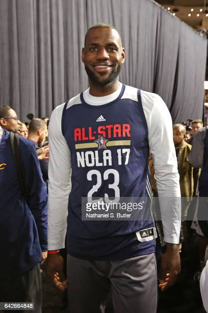 LeBron James of the Eastern Conference All Star Team smiles and poses for a photo during NBA AllStar Practice as part of 2017 AllStar Weekend at the...