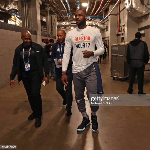 LeBron James of the Eastern Conference All Star Team walks through the halls before NBA AllStar Practice as part of 2017 AllStar Weekend at the...