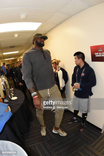 LeBron James of the Eastern Conference AllStar Team arrives for the 2017 NBA AllStar Practice as part of 2017 AllStar Weekend at the MercedesBenz...