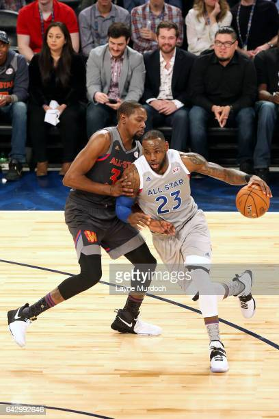 LeBron James of the Eastern Conference AllStar Team drives to the basket during the game against the Western Conference AllStar Team during the NBA...