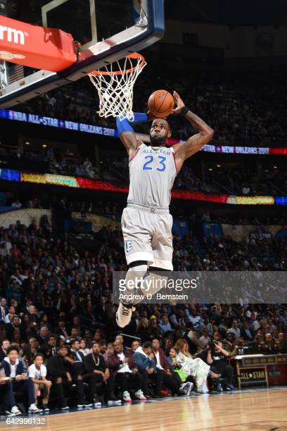 LeBron James of the Eastern Conference AllStar Team drives to the basket against the Western Conference AllStar Team during the NBA AllStar Game as...