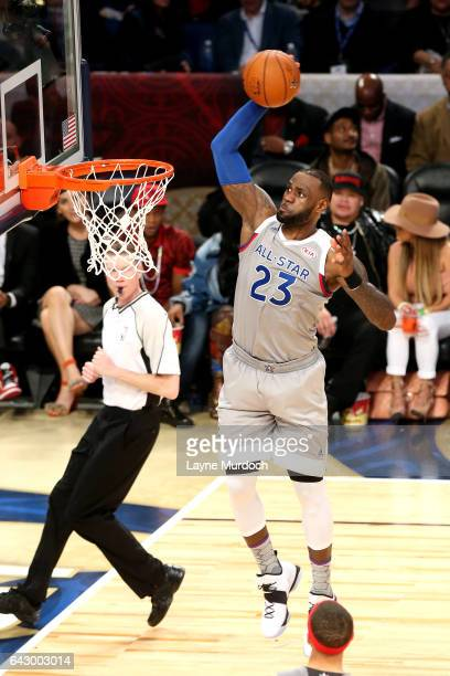 LeBron James of the Eastern Conference AllStar Team dunks the ball during the NBA AllStar Game as part of the 2017 NBA All Star Weekend on February...