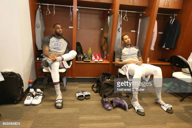 LeBron James of the Eastern Conference AllStars and Carmelo Anthony of the Eastern Conference AllStars during the NBA AllStar Game as part of the...