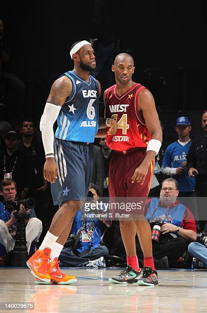 LeBron James of the Eastern Conference AllStars and Kobe Bryant of the Western Conference AllStars during the 2012 NBA AllStar Game presented by Kia...