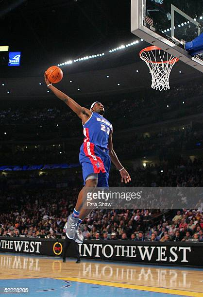 LeBron James of the Eastern Conference All-Stars breaks away for a dunk during the 54th All-Star Game against the Western Conference All-Stars, part...