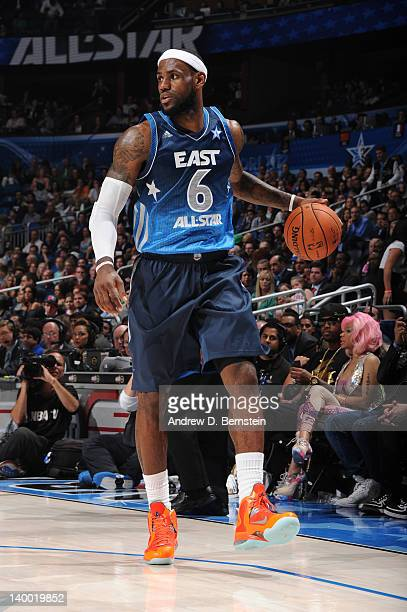 LeBron James of the Eastern Conference All-Stars dribbles against the Western Conference All-Stars during the 2012 NBA All-Star Game presented by Kia...