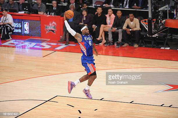 LeBron James of the Eastern Conference AllStars dunks against the Western Conference AllStars during the 2013 NBA AllStar Game presented by Kia on...
