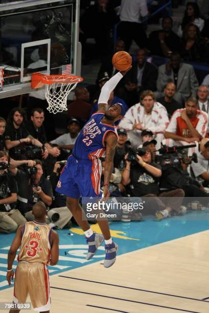 LeBron James of the Eastern Conference AllStars dunks against the Western Conference AllStars during the 2008 AllStar Game on February 17 2008 at the...