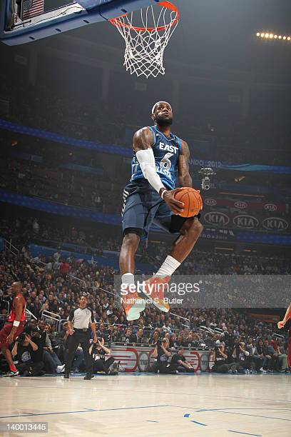 LeBron James of the Eastern Conference All-Stars goes up for a dunk while playing against the Western Conference All-Stars during the 2012 NBA...