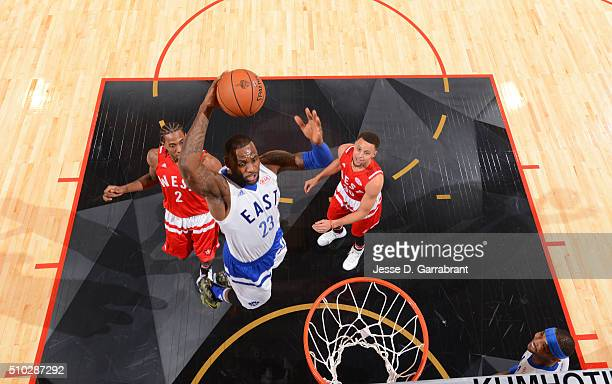 Lebron James of the Eastern Conference AllStars goes up for the dunk during the NBA AllStar Game as part of the 2016 NBA All Star Weekend on February...