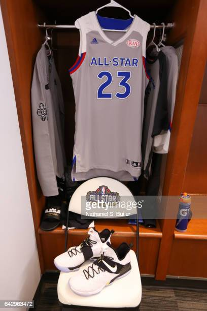 LeBron James of the Eastern Conference AllStars jersey and sneakers during the NBA AllStar Game as part of the 2017 NBA All Star Weekend on February...