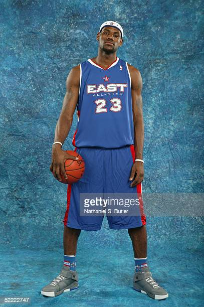 LeBron James of the Eastern Conference AllStars poses for a portrait prior to the 54th AllStar Game part of 2005 NBA AllStar Weekend at Pepsi Center...