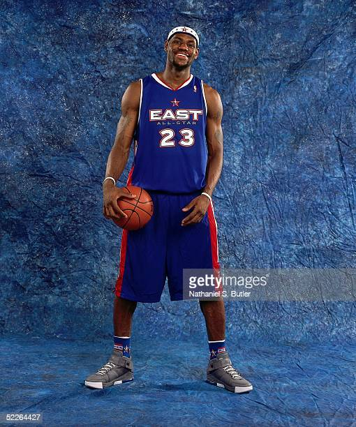 LeBron James of the Eastern Conference AllStars poses for a portrait prior to the 2005 NBA AllStar Game at The Pepsi Center on February 20 2005 in...
