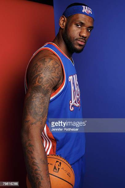 LeBron James of the Eastern Conference AllStars poses for a portrait during the 2008 AllStar Game on February 17 2008 at the New Orleans Arena in New...