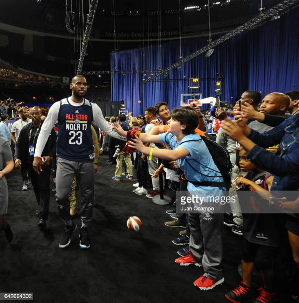LeBron James of the Eastern Conference AllStars walks during the NBA DLeague All Star Game as part of 2017 AllStar Weekend at the MercedesBenz Super...