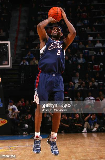 LeBron James of the Eastern Conference attempts a shot against the Western Conference during the 2007 NBA All-Star Game on February 18, 2007 at the...