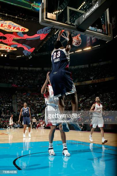 LeBron James of the Eastern Conference dunks against the Western Conference during the 2007 NBA All-Star Game at the Thomas & Mack Center February...