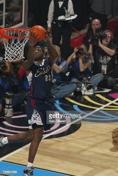 LeBron James of the Eastern Conference dunks during the 2007 NBA All-Star Game on February 18, 2007 at the Thomas & Mack Center in Las Vegas, Nevada....