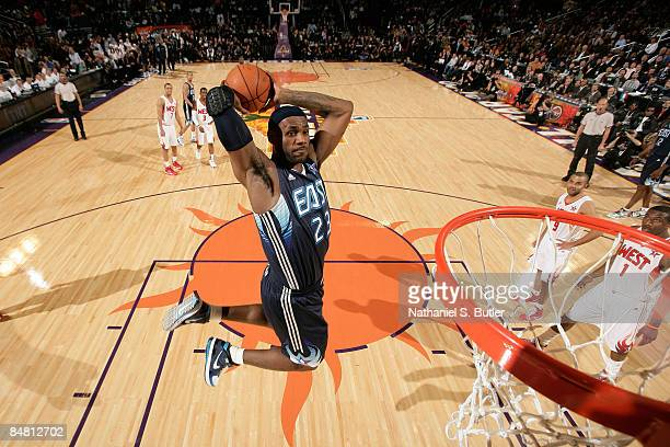 LeBron James of the Eastern Conference dunks during the 58th NBA AllStar Game part of 2009 NBA AllStar Weekend at US Airways Center on February 15...