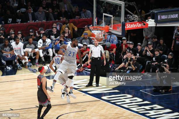 LeBron James of the Eastern Conference dunks during the NBA AllStar Game as a part of 2017 AllStar Weekend at the Smoothie King Center on February 19...