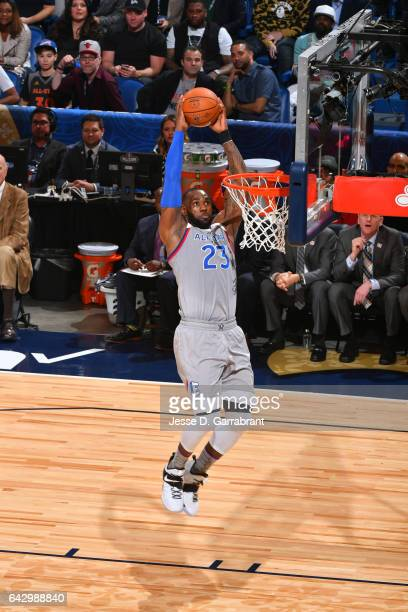 LeBron James of the Eastern Conference goes up for a dunk during the NBA AllStar Game as part of the 2017 NBA All Star Weekend on February 19 2017 at...
