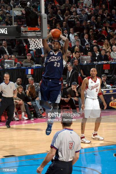 LeBron James of the Eastern Conference goes up for a dunk during the 2007 NBA All-Star Game on February 18, 2007 at the Thomas & Mack Center in Las...