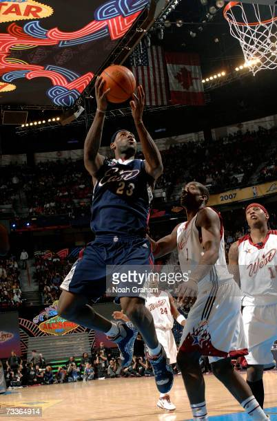 LeBron James of the Eastern Conference goes up for a layup in front of Amare Stoudemire during the 2007 NBA All-Star Game on February 18, 2007 at the...