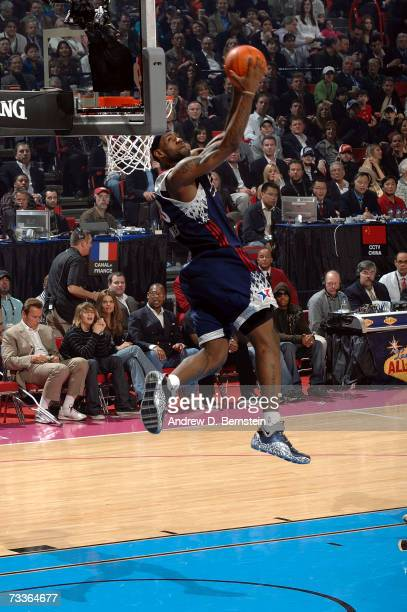 LeBron James of the Eastern Conference goes up for a reverse dunk during the 2007 NBA All-Star Game on February 18, 2007 at the Thomas & Mack Center...