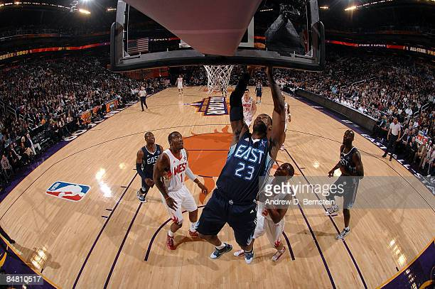 LeBron James of the Eastern Conference goes up for a shot during the 58th NBA AllStar Game part of 2009 NBA AllStar Weekend at US Airways Center on...