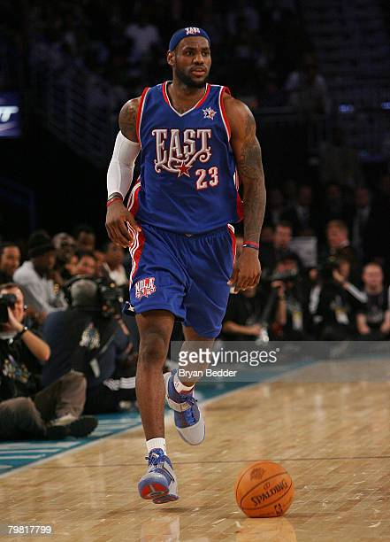 Lebron James of the Eastern Conference in the last quarter of the 57th NBA AllStar Game part of 2008 NBA AllStar Weekend at the New Orleans Arena on...