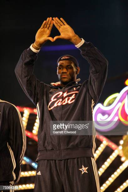 LeBron James of the Eastern Conference is introduced prior to the 2007 NBA All-Star Game at the Thomas & Mack Center February 18, 2007 in Las Vegas,...