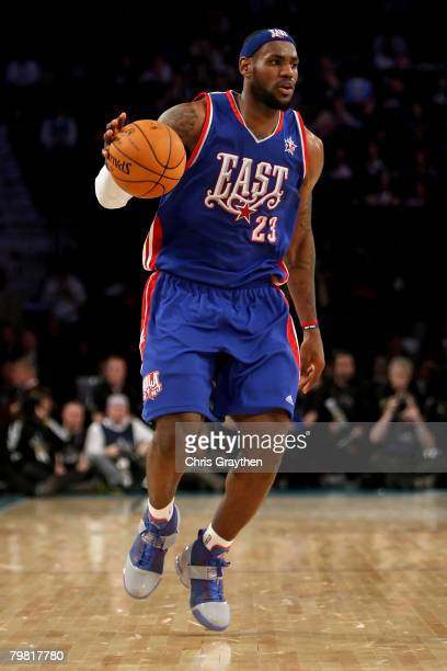 LeBron James of the Eastern Conference moves the ball in the fourth quarter of the 57th NBA AllStar Game part of 2008 NBA AllStar Weekend at the New...