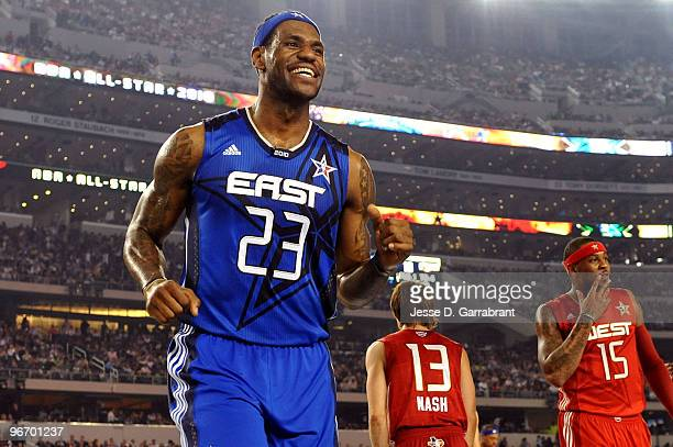 LeBron James of the Eastern Conference reacts after a play against the Western Conference during the NBA AllStar Game part of 2010 NBA AllStar...